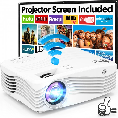"7500Lumens Upgraded Native 1080P Projector, Full HD WiFi Projector Synchronize Smartphone Screen, Compatible with TV Stick/HDMI/PS4/DVD Player/AV for Outdoor Movies [Packed with 120"" Projector Screen]"