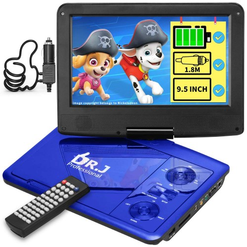 "DR. J 11.5"" Portable DVD Player with HD 9.5"" Swivel Screen"