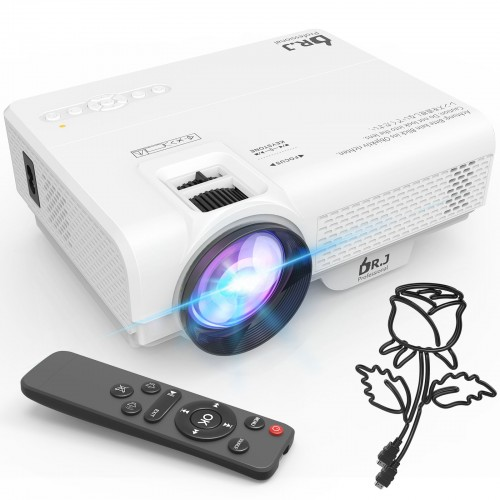 DR. J Professional 6000Lumens Mini Projector, Full HD 1080P Supported Video Projector For Outdoor Movies, Compatible With TV Stick, HDMI, VGA, USB, TF, AV, Sound Bar, Video Games [2021 Latest Upgrade]